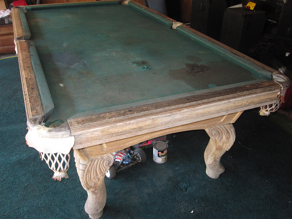 Dirty Old Pool Table Comes Clean Dk Billiard Service
